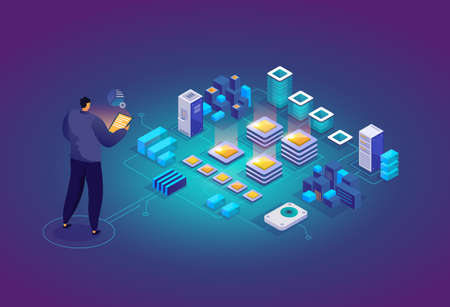 Technician in data center room. Computer data storage and crypto farming workstation. Network mainframe infrastructure background. Data analysis concept website layout. Vector isometric.