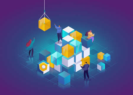 Blockchain Technology 3d isometric concept. Abstract future high tech vector illustration. Cryptocurrency and blockchain isometric composition with people.