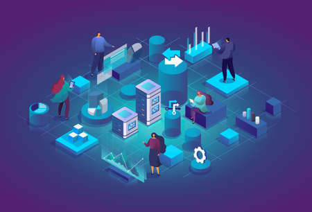 People with charts and graphs interact with each other and analyze statistics. Software, web development, programming. Technology process of Software development concept. Vector 3d isometric illustration