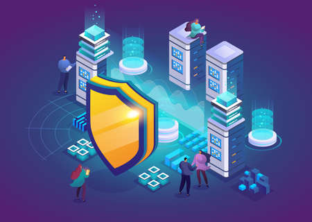 Isometric vector illustration of database protection concept, digital device privacy system. Malware security software. Hacker attack and unauthorized access protection. Team of technicians in server room. 矢量图像