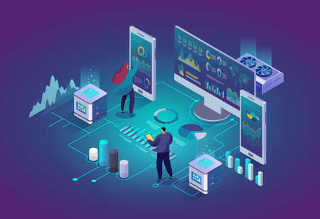 Financial analytics, market research, success development planning, business development strategy concept. People in data center room. 3d isometric vector illustration.