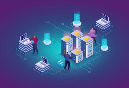 Website hosting abstract 3d isometric vector illustration. System administrators, data center engineers works with server. Development, maintenance and support of Internet sites.