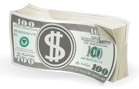 Bundle of one hundred dollar bills on white background. Vector illustration 矢量图像