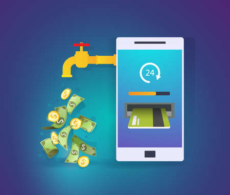 Smartphone with credit card and cash. Mobile banking application. Online payment, cash transaction, passive income concept. Business Vector Illustration
