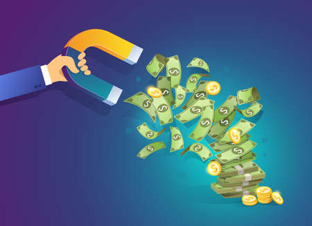 Hand holding a magnet attracting money. Isometric vector concept of attracting investments, money, business, success. Illustration for web site page and mobile app