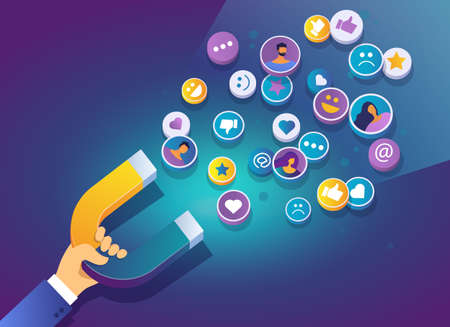 Hand holding a magnet. Marketing magnet engaging followers social media. Social media marketing concept. Popularity on social networks. Isometric vector concept.