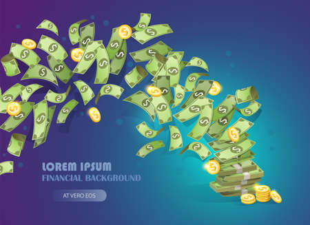 Flying bills and coins. Cash income and business success concept. Money background vector illustration