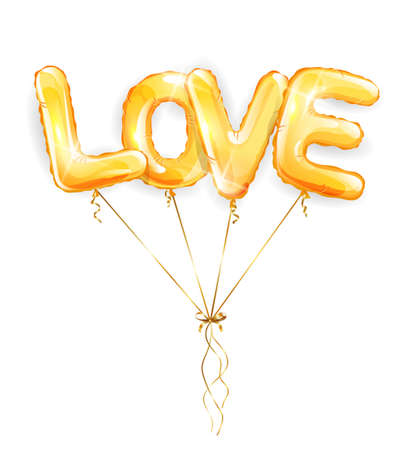 Wedding and Valentines Day balloons. Inscription love gold foil helium balloons on white background. Vector illustration