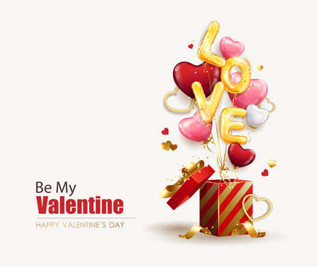 Valentine's day design template. Open gift box with heart shaped balloons and love inscription made of helium balloons. Promotion and shopping template or holiday background. Vector illustration 矢量图像