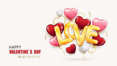 Happy Valentines day template with heart shaped balloons and with the inscription love from gold foil helium balloons. Holiday banner, web poster, romantic brochure design, flyer, greeting card. Vector background 矢量图像