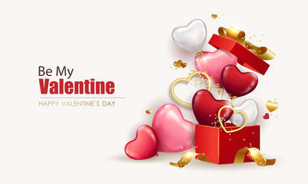 Happy Valentine's Day background with open gift box from which heart shaped balloons fly out. Holiday flyer and brochure design. Sale banner template, festive poster. Vector illustration 矢量图像