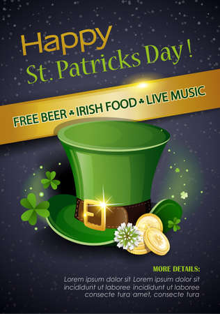 St. Patrick's Day Traditions and Symbols party flyer, brochure. Leprechaun hat with gold coins, shamrock, on black background. Vector illustration.