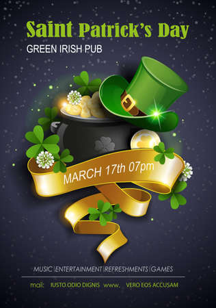 St. Patrick's Day Traditions and Symbols party flyer, brochure, invitations template. Leprechaun hat, shamrock, pot with gold coins on black background. Vector illustration.