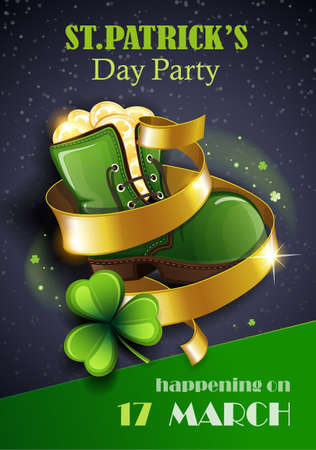 St. Patrick's Day Traditions and Symbols party flyer, brochure. Leprechaun shoe with gold coins, shamrock, on black background. Vector illustration.