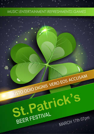 St. Patrick's Day Traditions and Symbols party flyer, brochure, invitations template. Shamrock, on black background. Vector illustration. 矢量图像
