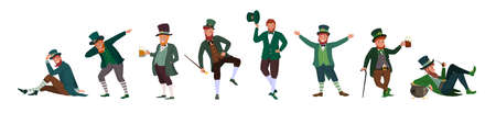 Irish fantastic character leprechaun set in different poses. Saint Patrick's day vector cartoon characters on white background