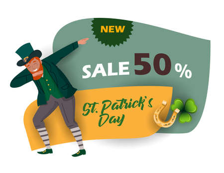 St. Patrick's Day discount and sale sticker with Irish fantastic character Leprechaun. Special offer banner Vector design