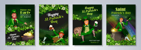Irish fantastic characters leprechauns in different poses on green background. Saint Patrick's Day party flyer, brochure, holiday invitation. Vector illustration.