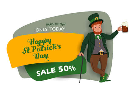 Saint Patrick's Day discount and sale sticker with Irish fantastic character Leprechaun. Special offer banner Vector design