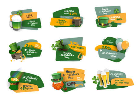 Discount and sale stickers with pot of gold, horseshoe, beer and other St. Patrick's Day symbols. Special offer banner Vector design 矢量图像