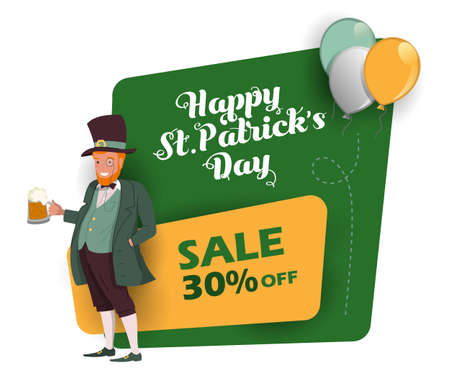 St. Patrick 's Day discount and sale sticker with Irish fantastic character Leprechaun. Special offer banner Vector design