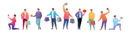Group of young men with gifts and flowers. Flat cartoon characters for birthday greetings, weddings, March 8, and other holidays. Vector illustration. 矢量图像