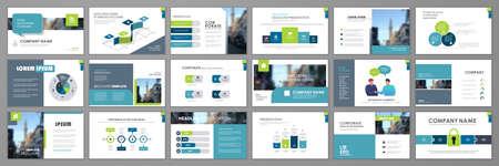 Business presentation infographic elements template set. Keynote presentation background, slide templates design, website ideas, brochure cover design, landing page, annual report brochure. Vector Illustration
