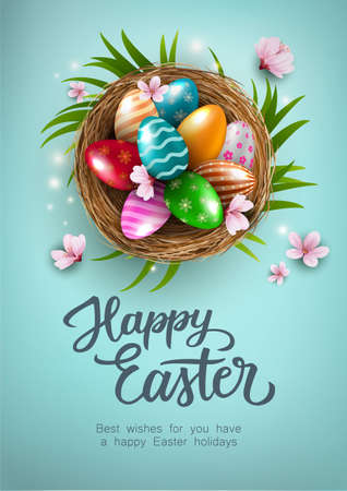 Happy Easter Poster with colorful easter eggs in the nest, and flowers on blue background. Gift and invitation greeting card template for Easter Day. Shopping banner template, sale and discounts. Vector illustration