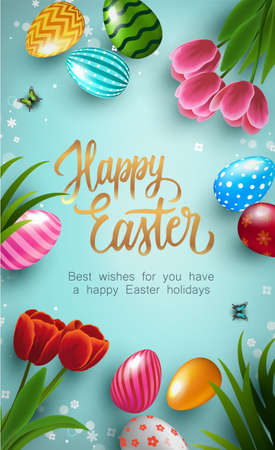 Happy Easter Poster with colorful Easter Eggs and tulip flowers on blue background. Gift and invitation greeting card template for Easter Day. Shopping banner template, sale and discounts. Vector illustration 矢量图像