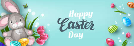 Happy Easter greeting card with Easter bunny, Easter Eggs and flowers on blue background. Gift and invitation flyer layout for Easter Day. Easter Shopping discount poster template. Vector illustration