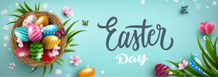 Happy Easter greeting card with easter eggs in the nest, grass and flowers on blue background. Gift and invitation flyer layout for Easter Day. Easter Shopping discount poster template. Vector illustration 矢量图像