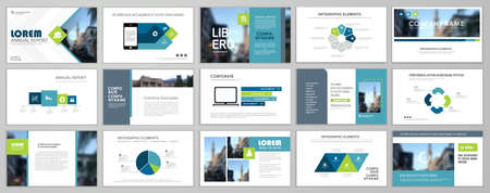 Presentation slide layout background. Blue and green design brochure template. Use in presentation, flyer, leaflet, banner, corporate report, annual report, marketing, advertising. 矢量图像