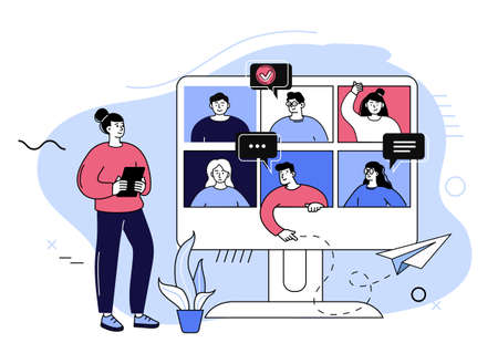 Conference video call. Group video call and virtual meeting concept, people talking to each other on monitor screen. Remote communication concept flat vector illustration