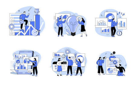 Group of men and women taking part in a business meeting, brainstorming, conference and seminar. The concept of career growth, job success and teamwork. Outline vector illustrations 矢量图像