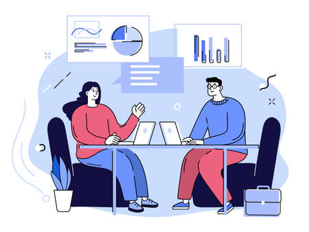 Business meeting, brainstorming and presentation advice in Office. Woman and man discussing business strategy. Cartoon outline vector illustration