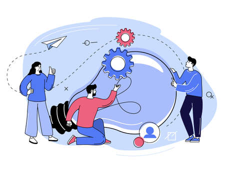Business team brainstorming and generating ideas. People holding gears and light bulb. Working team collaboration, corporate meeting, business strategy and planning concept. Vector illustration 矢量图像