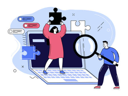 Man and woman with puzzle and magnifying glass. Problem solving, creative process, innovative solutions, social recruiting concept. Flat vector illustration. 矢量图像