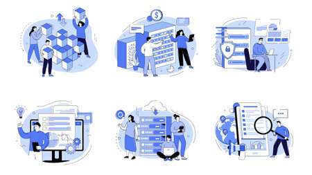 Business intelligence, information analysis, market research strategy, analytics software. Business analysis concept with characters. Vector illustration for web banner, landing page, web template.
