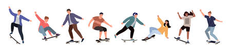 Set of diverse people riding a skateboard. Colored flat vector illustration of skateboarders in different poses isolated on white background 矢量图像