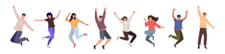 Happy jumping young people. Cheerful cartoon characters set. The concept of friendship, happiness, joy and success. A set of funny characters isolated on white background, flat vector illustration 矢量图像
