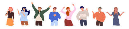 Group of diverse happy people, men and women, stand together on white background and gesticulate. Cartoone charachters flat vector illustration