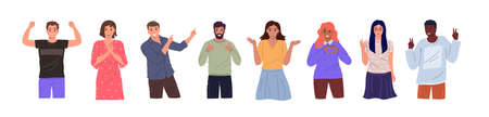 Group of diverse happy people of different races and nationalities in different poses standing together on white background. Cheerful cartoon characters set. Flat vector illustration
