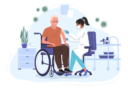 Female Doctor Injecting virus Vaccine to an elderly patient in a wheelchair. Hospital Cartoon Interior. Adult immunization, vaccine flat vector illustration
