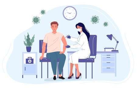 Medical professional makes an injection to a young man. Vaccination of the population from virus. Medicine Healthcare concept vector illustration 矢量图像