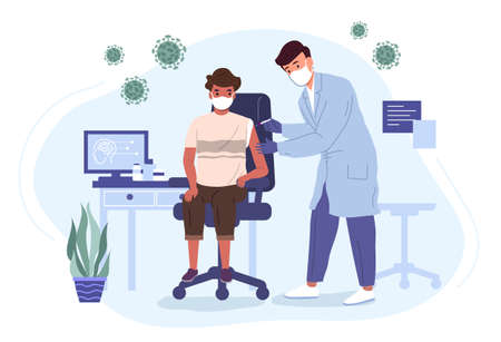 Doctor in a medical gown and mask vaccinates a boy with a virus vaccine. Medicine and health care vector illustration concept.
