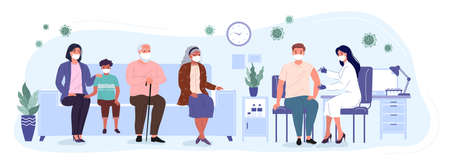 Patients and woman doctor in a medical clinic. People of different ages are waiting in line to receive the vaccine. Vaccination and immunization of the population against virus. Conceptual vector illustration