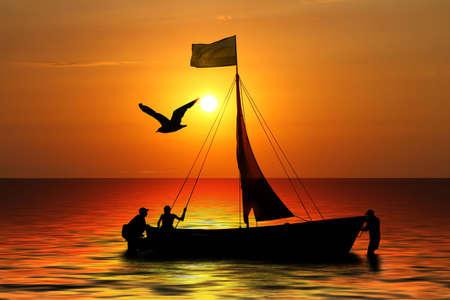 cape mode: Silhouette drei Segler und Boot auf den Hintergrund der Sonnenuntergang