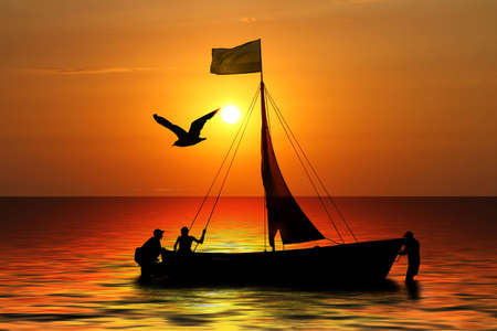 silhouette three sailors in boat on background of the sundown photo
