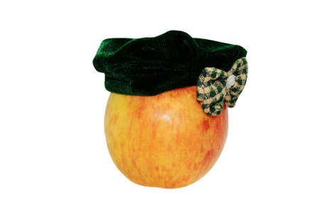 rural economy: The juicy appetizing motley red apple has dressed a female  hats.