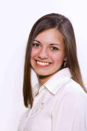 teeths: Closeup portrait of lovely person with brown hair smiles